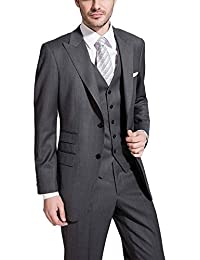 JYDress Men's Slim Fit 3 Piece Suit Two Button Blazer Tux Vest & Trousers