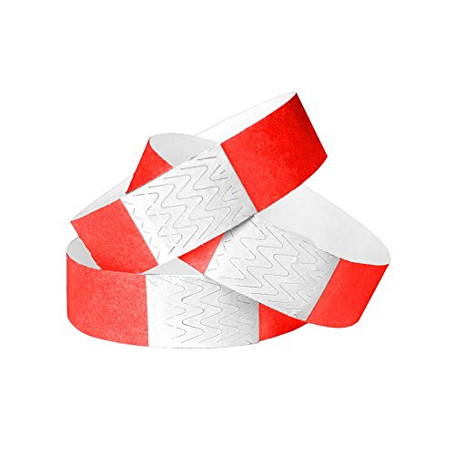 WristCo Neon Red 3/4 Inch Unnumbered 500 Count Paper Wristbands For (Adhesive Wristbands)
