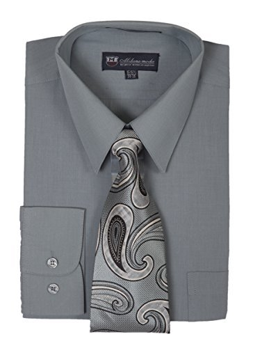 Milano Moda Men's Long Sleeve Dress Shirt With Matching Tie And Handkie SG21A-Charcoal-17-17 1/2-36-37