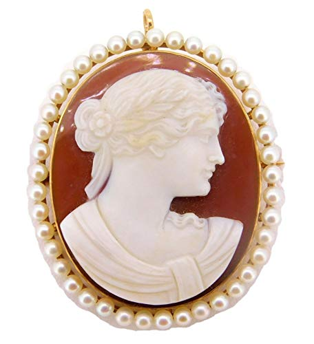 14k Gold Hard Stone Cameo Pin/Pendant with Cultured Pearls (#J4015)