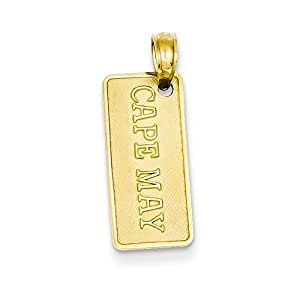 14k Polished CAPE MAY License Plate Pendant