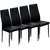 IDS home 4 Piece  Dining Chair  Modern Simplicity Style Black with Metal Frame PU Leather