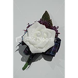 Modern Scottish White Rose Buttonhole with Allium and Tartan Bow 8