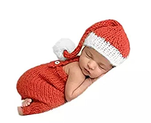 CX-Queen Newborn Infant Baby Photography Prop Crochet Knit Boy Girl Christmas Hat Pants Set (Newborn Christmas Costume)