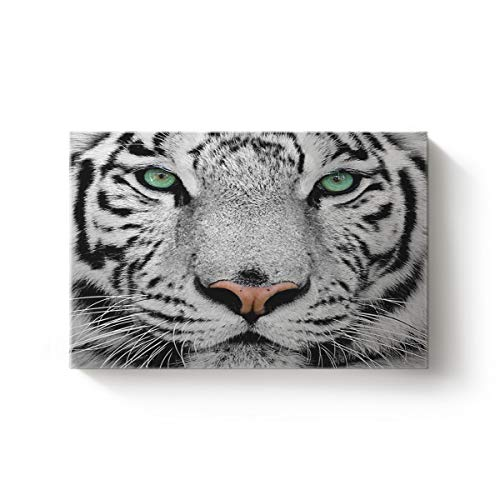 Arts Language Canvas Wall Art Artworks for Kitchen Bedroom Living Room Office Home Decor,Cool 3D White Tiger Face Animal Pattern Oil Art Painting,Stretched by Wooden Frame,Ready to Hang 16 x 24in ()