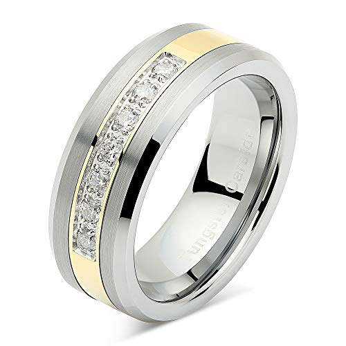 100S JEWELRY Mens Tungsten Ring Cz Inlay Gold Plated Titanium Color Wedding Band Beveled Edge Size 8-14 (8.5)