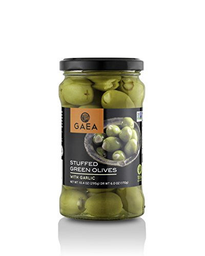 Olives Stuffed Garlic - Gaea Garlic Stuffed Green Olives Pack of 8-6 oz Jar