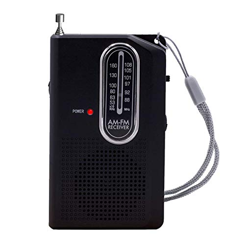 Portable Radio, Pocket AM/FM Transistor Radio-Battery Powered with Earphone Jack for Walking Hiking Camping