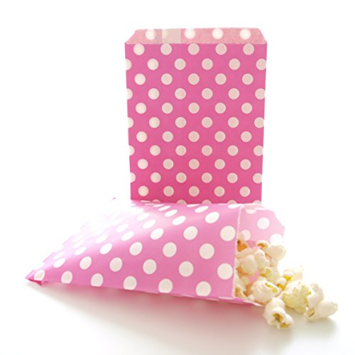 Girls Party Bags, Bridal Shower Favor Sacks, Valentine's Day Surprise Goodie Bags, Hot Pink Fuchsia Polka Dot Bags (25 Pack) Goodie Gumballs