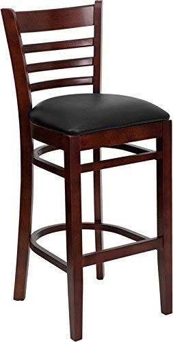 Flash Furniture HERCULES Series Ladder Back Mahogany Wood Restaurant Barstool - Black Vinyl Seat