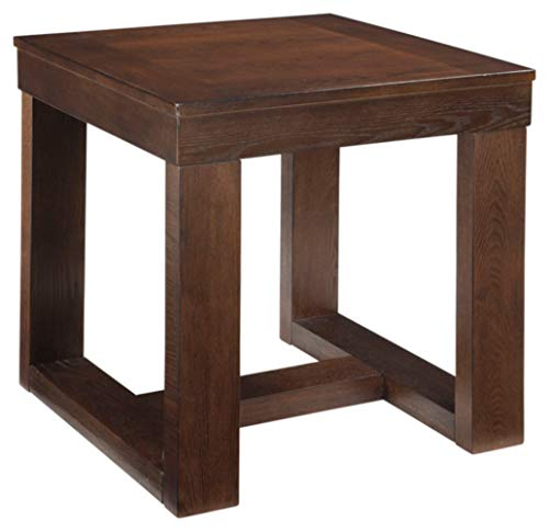 Watson Contemporary Brown Square End Table Modern and Minimal ()