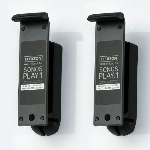 White Flexson Wall Mount for Sonos Play:1 with Mounting Hardware Pair