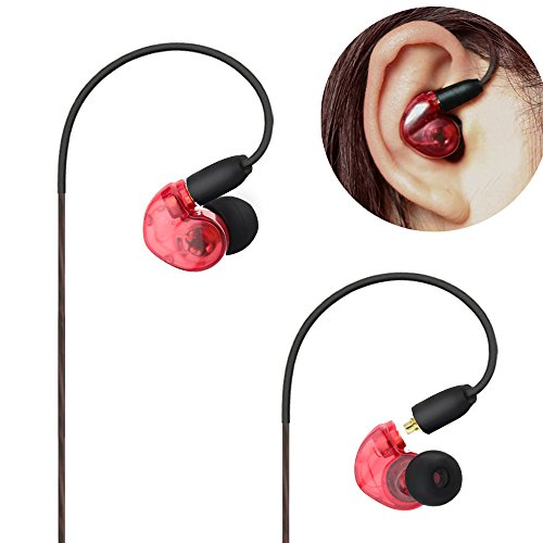 Musician Monitors Earphone with Earhook and Detachable Cables 5 Feet for On and Off stage Running and Sports(Red)