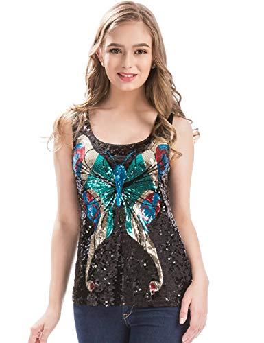 MANER Womens Shimmer Glam Sequin Butterfly Sleeveless Round Neck Tank Top (Black, S)