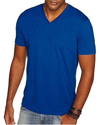 Next Level Apparel 6440 Mens Premium Fitted Sueded V-Neck Tee - Royal, -