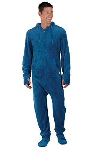 PajamaGram Fun Adult Onesie Men - Footed Pajamas for Men, Warm Fleece, Blue, LG