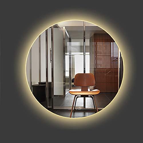 Round Backlit LED Illuminated Bathroom Mirror, LED Lighted Shaving Mirror, White/Warm Light, -