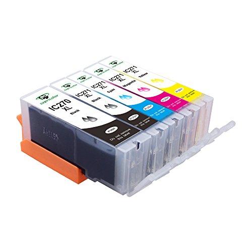 PGI-270XL CLI-271XL Ink Cartridges, Supricolor Replacement Ink Cartridges for Canon PGI 270 CLI 271 5 Color (1BK, 1PB, 1C, 1M, 1Y) Use with Canon TS9020 PIXMA MG6820 MG6821 MG6822 MG5720 MG5721 TS8020 by Supricolor