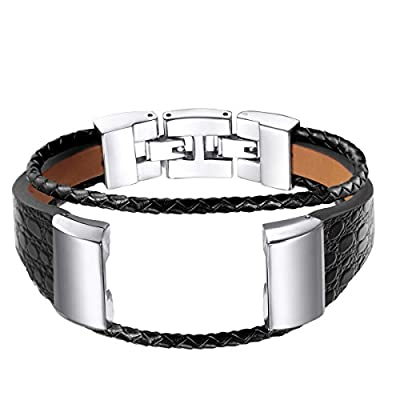 For Fitbit Charge 2 Bands, bayite Leather Bands Metal Clasp Fitbit Charge 2 Replacement Accessory Bracelet Black Brown Large Small