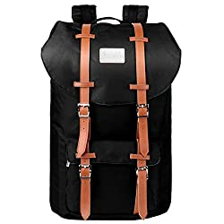 Travel Laptop Backpack, PRASACCO Outdoor Hiking Dayback Water Resistant Anti Theft 17inch Business Computer Bag, College School Backpack for Men Women, Black