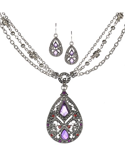 Intricate Filigree Textured Blue Orange Red Crystal Etruscan Necklace Set by Jewelry Nexus