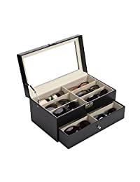 CO-Z 12 Slot Sunglasses Organizer Case for Women Men, Multiple Eyeglasses Eyewear Display Case, Leather Multi Sunglasses Jewelry Collection Holder with Drawer, Sunglass Glasses Storage Box