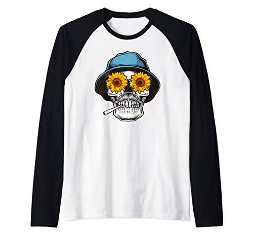 Hippie Skull Sunflower Tee For Mustache Men Raglan Baseball Tee]()
