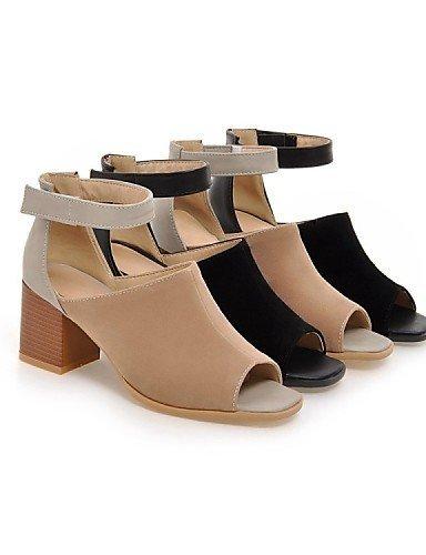 ShangYi Womens Shoes Suede / Leatherette Chunky Heel Heels / Peep Toe Sandals Office & Career / Dress / Casual Black almond