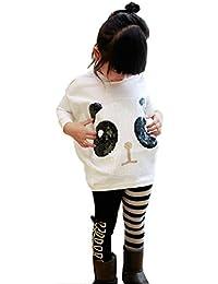2Pcs Kids Little Girls Cartoon Outfits Panda Coat Top + Striped Pants