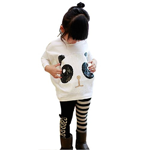Chinatera 2Pcs Kids Little Girls Cartoon Outfits Panda Coat Top + Striped Pants (For 5-6Y)