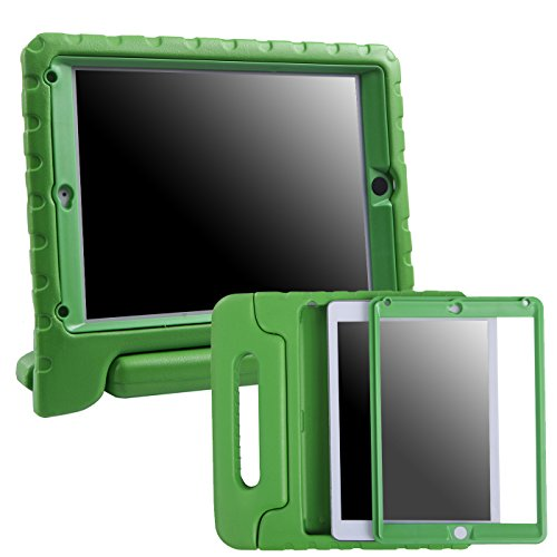 HDE Case for iPad Air 2 - Kids Shockproof Bumper Hard Cover Handle Stand with Built in Screen Protector for Apple iPad Air 2 - 2014 Release 2nd Generation (Green)