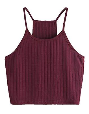 SheIn Women's Summer Basic Sexy Strappy Sleeveless Racerback Crop Top