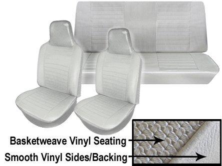 Basketweave Seat (VW Seat Upholstery, Full Set, Black Basketweave Vinyl, Beetle/Super Beetle 1974-1976)