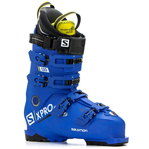 (Salomon X-Pro 130 Ski Boots - 28.5/Race Blue-Acid Green-Black)