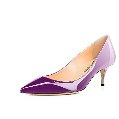 Violet Womens Dress Heels Shoes (Modemoven Women's Violet White Patent Leather Pointed Toe Kitten Heels Gorgeous Pumps Evening Stiletto Shoes 5.5CM - 7.5 M US)