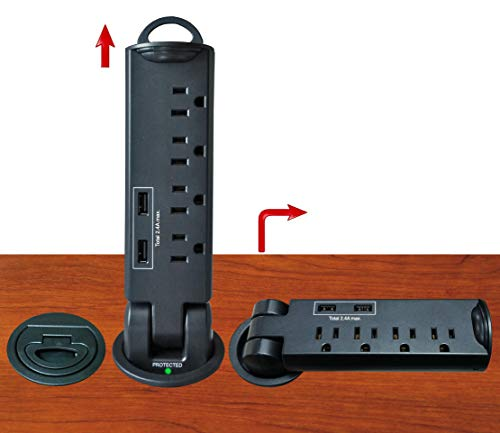 Electriduct Desktop Pull-Up PowerTap Grommet with Surge Protector and USB Charger 2.4 Amp (Black)