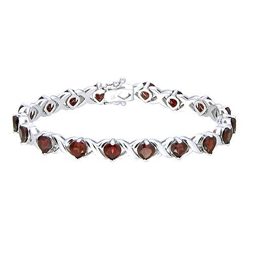 - Garnet Bracelet (6.50 CT) In Rhodium Plated