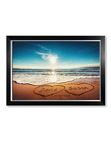 IPIC - ''Heart in Heart'', Personalized Artwork with Names and Date on, Perfect love gift for Anniversary,Wedding,Birthday and Holidays. Picture size: 30x20'', Framed Size: 33x23x1.25'' by IPIC