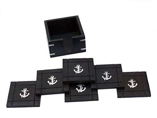 (Hampton Nautical WN-0129-CH Wooden Black Coasters with Chrome Anchor Inlay 4ヤ ヨ Set of 6 Nautical Home Decoration )