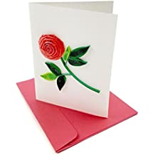 """Rose is a Rose Quilling Greeting Card, 3.5 X 2.5"""" with Envelope. Any Occasion. Blank Inside. Hand-made. Suitable for Framing. PACK OF 3."""