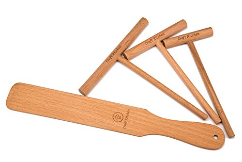Crepe Spreader and Spatula Set - 4 Piece (Crepe Spatula 14 and 3.5, 5, 7 Crepe Spreaders) All Natural Beechwood and Finish - Comfortable Sizes Will Fit Any Crepe Pan - Made by Craft Kitchen