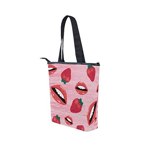 MyDaily Bag With Womens Lips Handbag Canvas Tote Strawberry Shoulder fqOXawtfWr