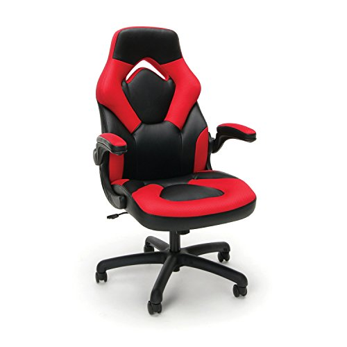 Style Arm Cushion Chair - Essentials Racing Style Leather Gaming Chair - Ergonomic Swivel Computer, Office or Gaming Chair, Red (ESS-3085-RED)