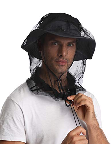 Autumn Maple 2 Pack Mosquito Head Net Mesh Protective Cover Mask Face from Insect Bug for Outdoor Lover (Black)