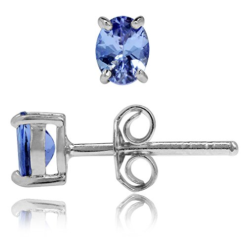 - Genuine Tanzanite White Gold Plated 925 Sterling Silver Stud Earrings