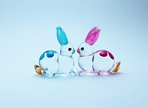 Sweet lovely Cute Rabbit Handcrafted MINIATURE HAND BLOWN GLASS FIGURINE Collection (Dog Elf Outfit)