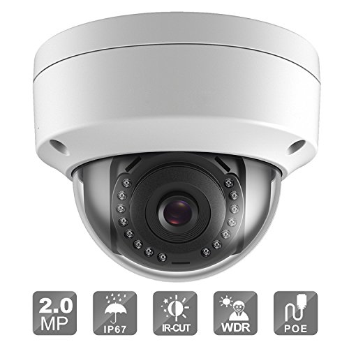 2MP POE Security IP Camera, Outdoor Dome Fixed Super Day/Night Vision ,ONVIF (2.8mm lens) (Wired Fixed Network Camera)