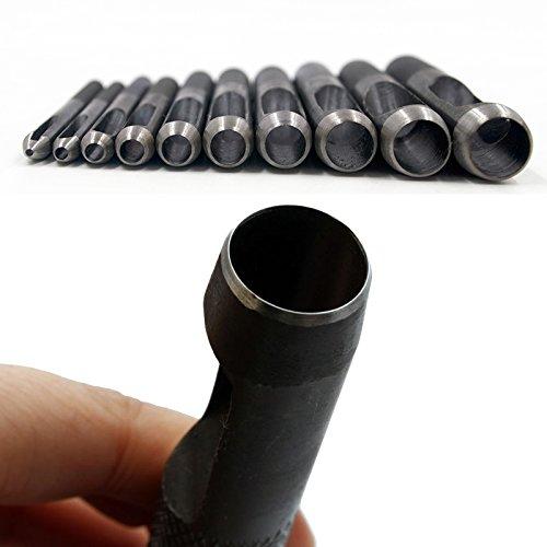Guajave Lot de 10 poin/çons Ronds en Acier Carbone pour Cuir et Cuir 1 mm-10 mm