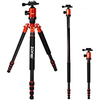 Zomei Portable Carbon Fiber Camera Tripod With Ball Head Pocket - Z818C (Orange)