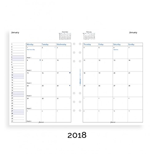filoFax 68510-OS-2018 Refill for Year 2018 A5 Month On Two Pages Diary